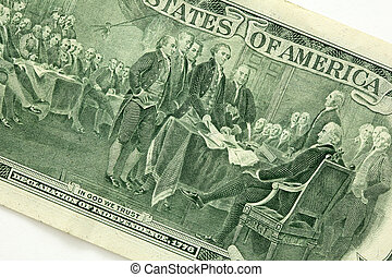 """Back of a two dollar bill - \""""Declaration of..."""