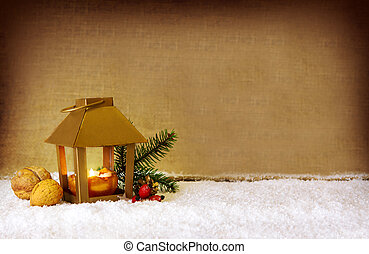 Christmas background with golden lantern - Christmas...