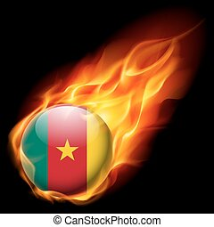Round glossy icon of Cameroon - Flag of Cameroon as round...