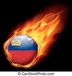 Round glossy icon of Liechtenstein - Flag of Liechtenstein...