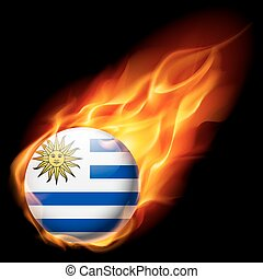 Round glossy icon of Uruguay - Flag of Uruguay as round...