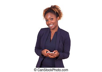 african American business woman using a smartphone - Black people