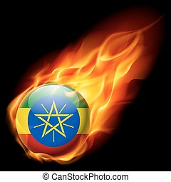 Round glossy icon of Ethiopia - Flag of Ethiopia as round...