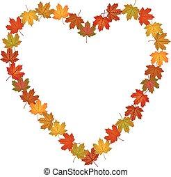 Fall leaves shaped heart frame