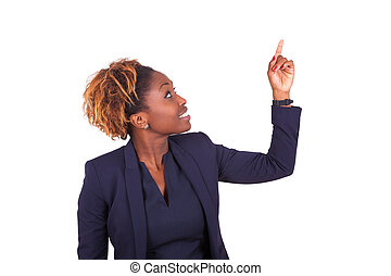 African American business woman pointing something up - Black people