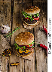 Beef burger rustic style, with chilli peppers and homemade...