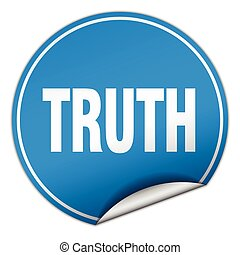 truth round blue sticker isolated on white