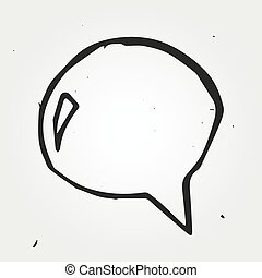 speech cloud hand drawn, vector doodle icon