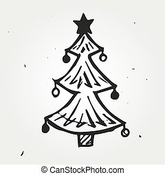 Christmas tree hand drawn