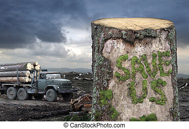 "Save the trees! - Green moss is formed the ""Save Us\""..."