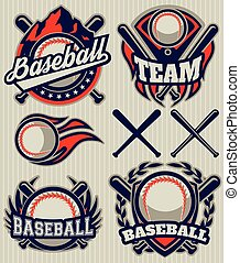 set sports template with ball and bats for baseball - set of...