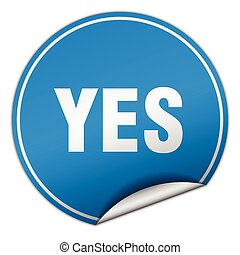 yes round blue sticker isolated on white