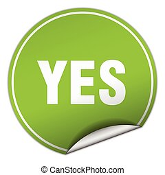 yes round green sticker isolated on white