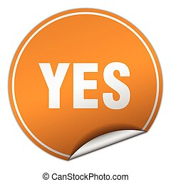 yes round orange sticker isolated on white