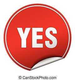 yes round red sticker isolated on white