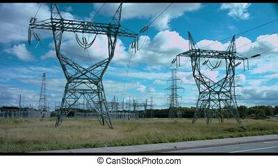 high voltage pylon 2 - 4k clip of high voltage pylons