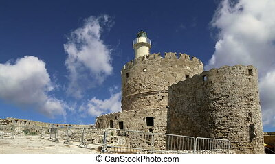 Rhodes Tower of St Nicholas, Greece time lapse