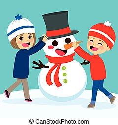 Children Making Snowman - Cute lovely children siblings...