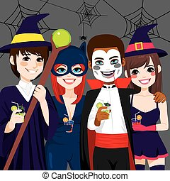 Halloween Adult Party - Small group of young adult people...