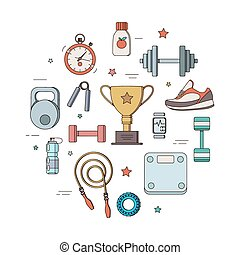 set of illustrations for a fitness tool - Linearization...