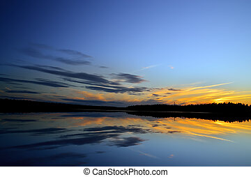 White nights on the lake Pongoma Karelia, Russia - Romantic...