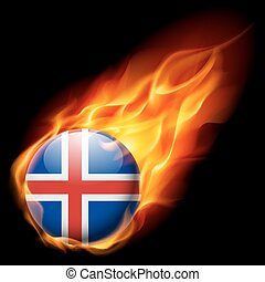 Round glossy icon of Iceland - Flag of Iceland as round...
