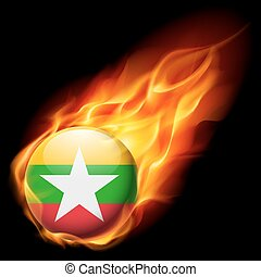 Round glossy icon of Myanmar - Flag of Myanmar as round...