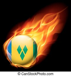 Round glossy icon - Flag of Saint Vincent and the Grenadines...