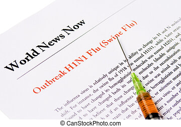 Outbreak Swine Flu newspaper headline with syringe -...