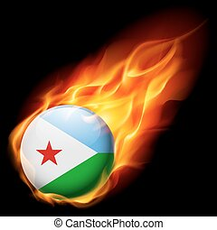Round glossy icon of Djibouti - Flag of Djibouti as round...
