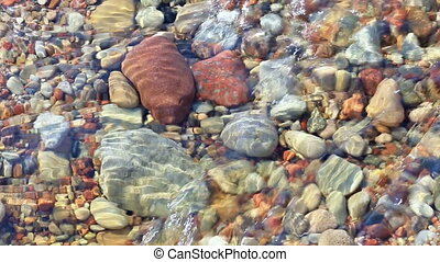 stone bottom transparent water rock natural background -...