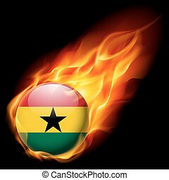 Round glossy icon of Ghana - Flag of Ghana as round glossy...