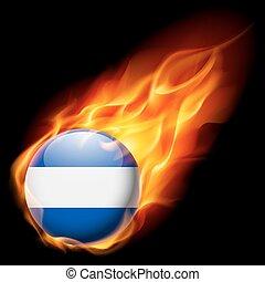 Round glossy icon of El Salvador - Flag of El Salvador as...