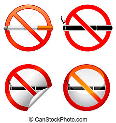 No smoking sign. - Set of 4 no smoking signs.