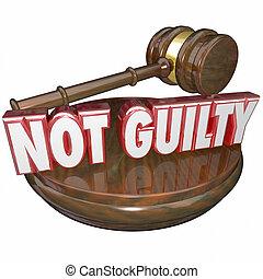 não, culpado, Juiz, decisão, Acquital,...