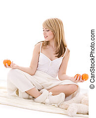 oranges - bright picture of lovely blonde with oranges