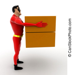 superhero carrying boxes concept on white background - 3d...
