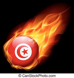 Round glossy icon of Tunisia - Flag of Tunisia as round...