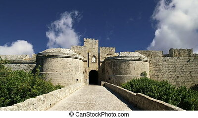 Medieval city walls in Rhodes