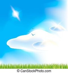 Blue sky. Vector art.