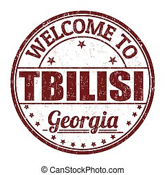 Welcome to Tbilisi grunge rubber stamp on white background,...