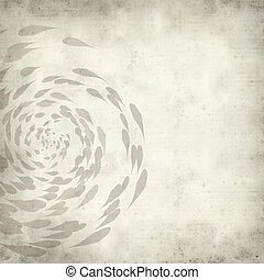 textured old paper background with spiralling koi carp...
