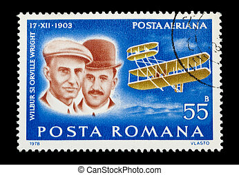 wright brothers - mail stamp printed in Romania showing the...