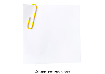 sheet of white paper with a yellow paper clip