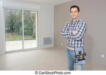 Builder happy to have finished the job