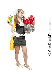 picture of happy girl with gifts isolated over white