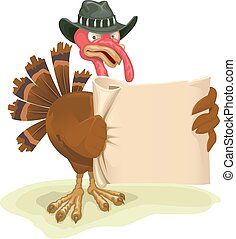 Turkey bird holding sheet of parchment Cartoon illustration...