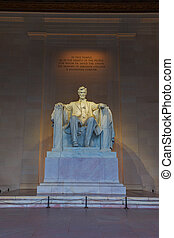 Lincoln Memorial - Marble statue of Abraham Lincoln sitting...