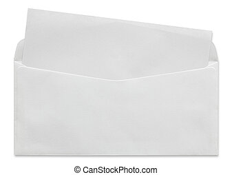 open white envelope with blank letter isolated on white...