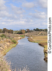 Marsh view of Back Bay wetlands in Newport Beach, California
